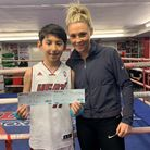 Shannon Courtenay presented Islington BC youngster Bek Ikromnov with a pair of tickets for her profe