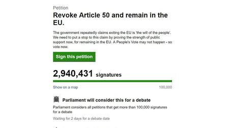 Screen grab taken from the UK Parliament website of a petition calling for the government to 'Revoke