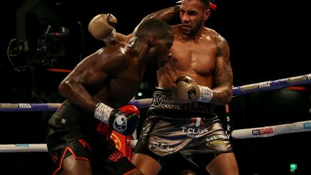 Lawrence Okolie (left) in action against Wadi Camacho during their British and Commonwealth Champion