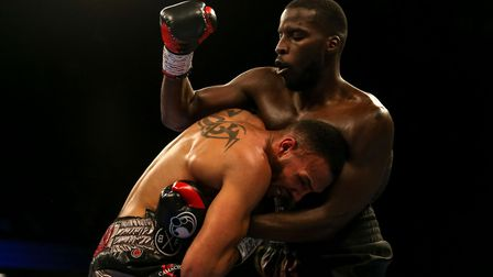 Lawrence Okolie (right) in action against Wadi Camacho during their British and Commonwealth Champio