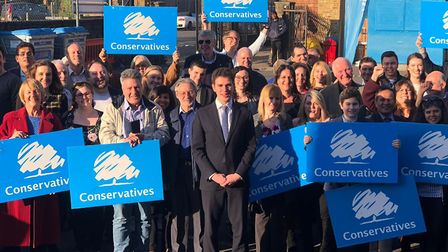 Roberto Weeden-Sanz flanked by Conservative activists after he was selected to stand in the GLA elec