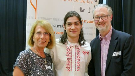 Susie Gregson, Fabio Fernandes and richard Clegg attend the launch night of the Proms at St Jude's i