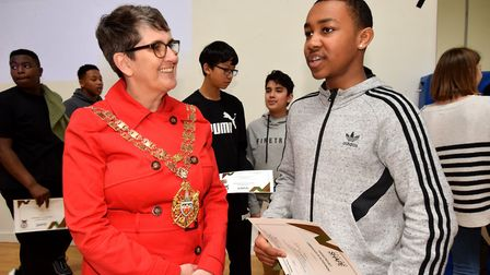 Hackney speaker Cllr Clare Potter chats about the project with graduate Raheim Parague, 14. Picture: