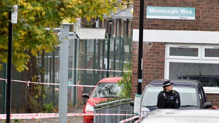 Police cordon off Monteagle Way, where Kaan Aslan was fatally stabbed. Picture: Polly Hancock
