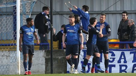 Wingate & Finchley celebrate their third goal against Potters Bar Town (pic: Gavin Ellis/TGS Photo)