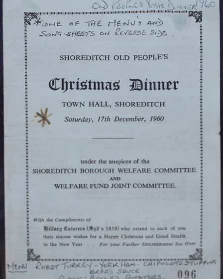 Syd's coffee stand Shoreditch Christmas dinner in 1960