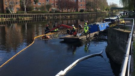 The cleanup following the latest oil spill in the River Lea. Picture: Environment Agency