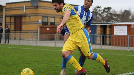 Haringey Borough's Dimitris Froxylias looks to get past a Bishop's Stortford opponent (pic: George P