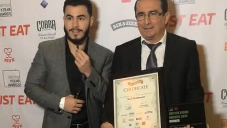 Testi owners Huseyin Uzum and his father Hasan Uzm with their award. Picture: British Kebab Awards
