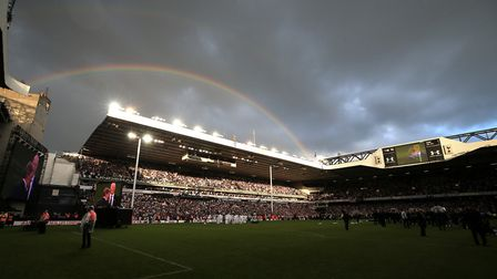 A rainbow appears over White Hart Lane during a farewell ceremony following Spurs' 2-1 win over Manc