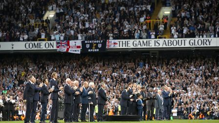 Former Tottenham Hotspur players on the pitch during a farewell ceremony following the 2-1 win over
