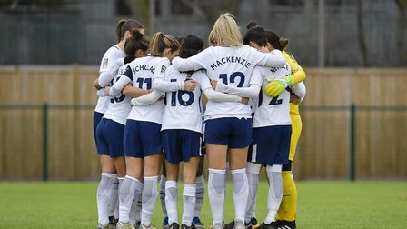 Tottenham Hotspur Ladies have a group huddle before a game (pic: Wu's Photography).
