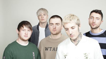 Jordan Fish (furthest right) joined Bring Me The Horizon in 2012. Picture: Justin Borucki.