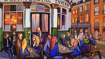 As the night sets in, painted by Cox outside the Commercial Tavern, is another piece that will displ
