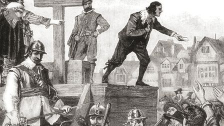 John Lilburne on the pillory, 1638, arrested for printing and circulating unlicensed books. John Lil
