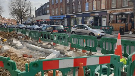 """Work has begun on a new """"refuge"""" style crossing in East Finchley High Road. Picture: Harry Taylor"""