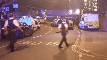 Police at the scene of the fatal stabbing. Picture: @999London