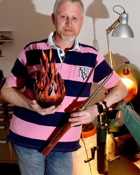 Woodturner Darren Breeze by his lathe in his new workshop on Lowestoft High Street. Picture: Nick Bu