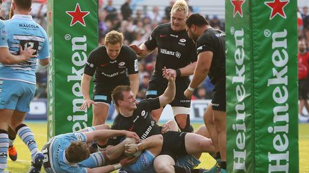 Max Malins (standing, left) made his European debut as Saracens beat Glasgow Warriors in the Heineke