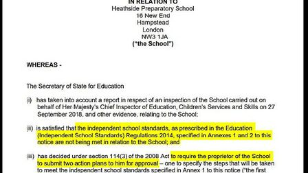 Part of an urgent formal notice issued to Remus White Limited in November 2018. Picture: DfE