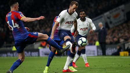 Crystal Palace's Martin Kelly and Tottenham Hotspur's Harry Kane battle for the ball during the Prem