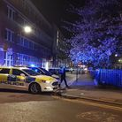 A police car in Arcola Street after an 18-year-old was stabbed last night Picture: @999London