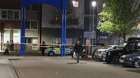 The stabbing in Arcola Street. Picture: @999London