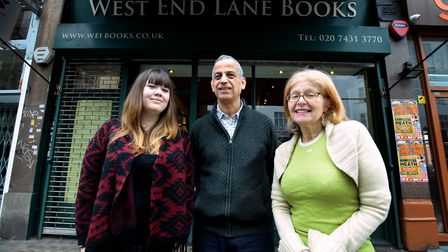Kim Morris, Ghassan Fergiani and Danny Van Emden at West End Lane Books. Picture: Polly Hancock