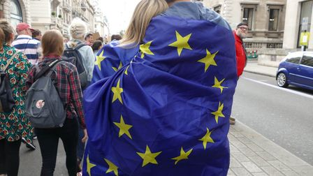 Tens of thousands demonstrated in a 'March For Europe' event. Photograph: SIPA USA/PA Images.