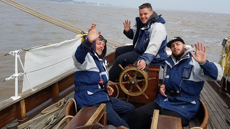 Young people enjoying sailing historic racing yacht Leila. Picture: Anglian News Agency