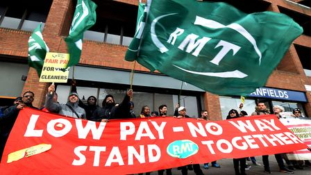 RMT members including cleaners on London Overground trains protest outside Overground House. Picture
