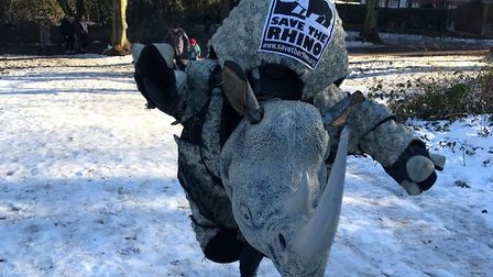 Hannah in her rhino costume on Hampstead Heath in the snow. Picture: Hannah Sharp