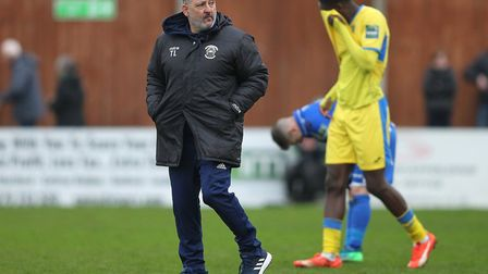 Haringey Borough manager Tom Loizou at the final whistle at Bishop's Stortford (pic: George Phillipo