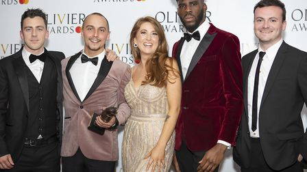 The cast of Flesh and Bone at the Olivier Awards. Elliot, second left, and Olivia, centre. Picture:
