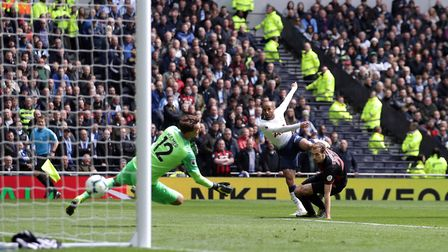 Spurs' Lucas Moura scores his side's second goal of the game during the Premier League match against