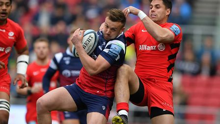 Bristol Bears (left) Andy Uren and Saracens Sean Maitland during the Gallagher Premiership match at