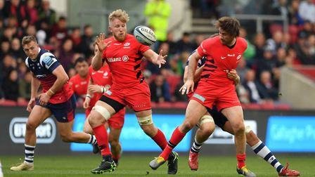 Saracens' Jackson Wray (left) and Marcelo Bosch during the Gallagher Premiership match at Ashton Gat