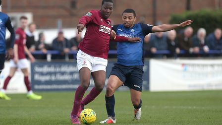 Tanasheh Abrahams of Wingate & Finchley and Stefan Powell of Potters Bar (pic: Gavin Ellis/TGS Photo