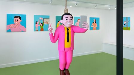 Joan Cornella's latest exhibition features an attention-grabbing sculpture in the centre of the room