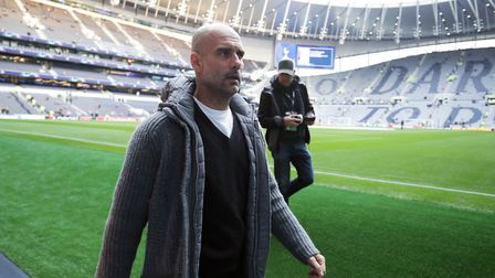 Manchester City manager Pep Guardiola arrives for the Champions League quarter-final first leg match