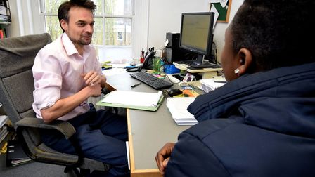 Hackney Community Law Centre, housing solicitor Kevin Long meets a client. Picture: Polly Hancock