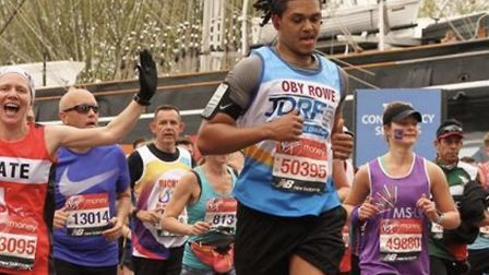 Haringey Borough footballer Coby Rowe completed the London Marathon on Sunday