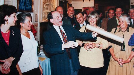 Gerry Isaaman celebrates 25 years as editor of the Ham&High at Burgh House in 1993. Picture: Nigel S