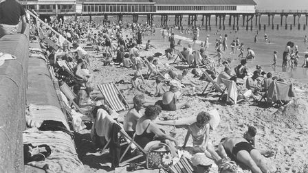 Crowds soak up the sun just south of Lowestoft's Claremont Pier. Picture taken on September 1, 1966.