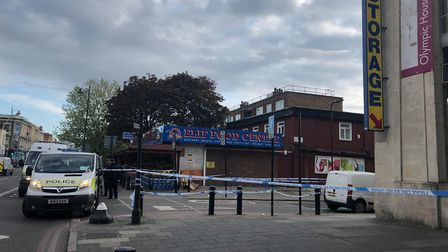 Police at the scene in Stoke Newington Road this morning. Picture: Supplied