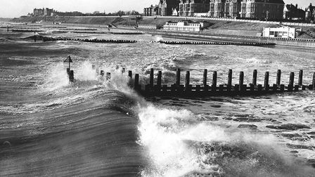 Rough seas at Lowestoft alongside the Claremont Pier on January 12, 1962. Pcture: LOVETT
