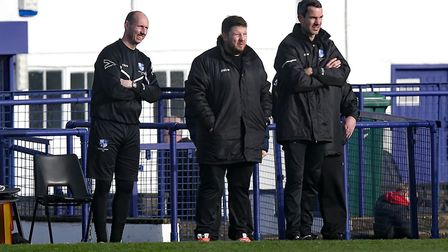 Members of Wingate & Finchley's management team watch on at the Maurice Rebak Stadium (pic: Gavin El