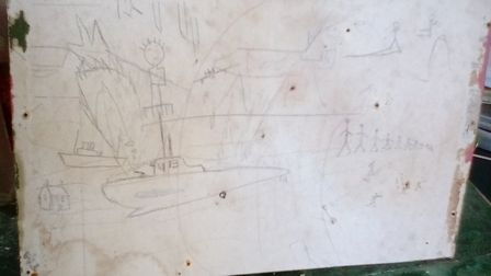 The sketch of the U-Boat with the mystery initials. Picture: Val Hobbs