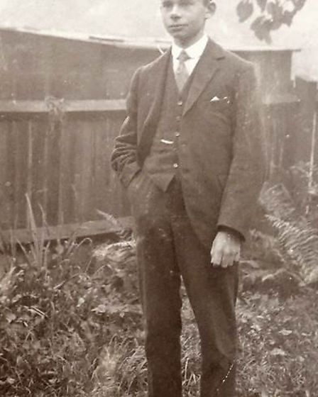 Frederick Wirth in the back garden of his home in Albion Road, circa 1918