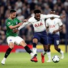 Brighton & Hove Albion's Florin Andone (left) fouls Tottenham Hotspur's Danny Rose during the Premie